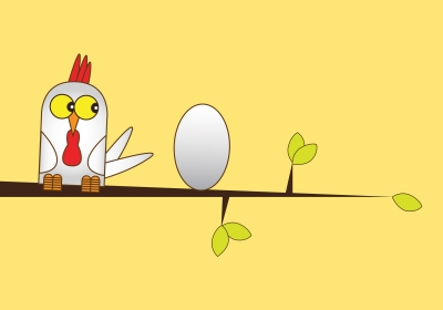 Hand drawn Illustration of a white chicken and egg perched on a branch of a tree, set on a plain yellow coloured background.