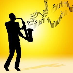 Sun Saxophone Means Jazz Music And Acoustic